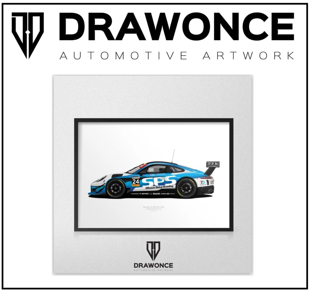DRAWONCE artwork of the Porsche 991 GT3-R driven by Rob Blake / Blake GT-Racing